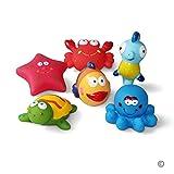 Baby badespielzeug(6PCS)Mit Kostenlos Badespielzeug Aufbewahrungstasche, Badetiere Badewanne Spielzeug Geschenkset für Kinder,badespielzeug für kleinkinder- Fisch,Seepferdchen,Schildkröte,Seestern