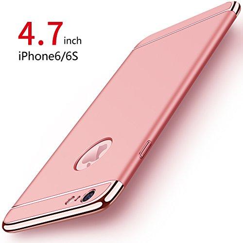 iPhone 6/6s Hülle, PRO-ELEC iPhone 6/6s Schutzhülle [ Mit Gehärtetem Glas Displayschutz ] Hochwertigem Stoßfest, Ultra dünn iPhone 6/6s Handyhülle, Schutz Tasche Schale Hülle für iPhone 6/6s - Rose Gold