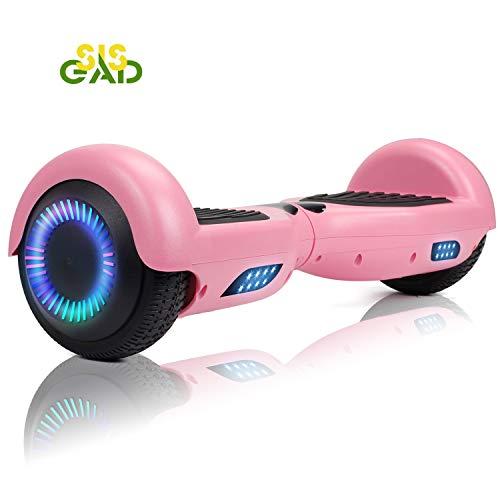 """SISGAD 6,5\"""" Selbstausgleichender Roller mit Zwei Rädern, Smart Hover Board mit 2 * 300W Motor, LED-Leuchten, UK & EU-Ladegerät (Pink)"""