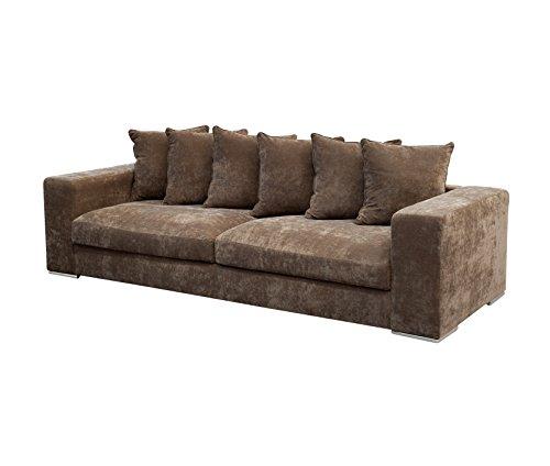 Vier Sitz-stoff Sofa (Amaris Elements | Sofa 'Monroe' Samt aus Mikrofaser braun inklusive 6 Kissen, 265x106x65 cm 4 Sitzer Sitz-Garnitur Wohnlandschaft Samtoptik modern und bequem 4er Couch mit Stoff Bezug)