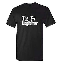 MITEES Mens Chihuahua T Shirt - The Dog Father Black Tshirt