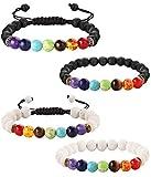 Yadoca 4 Pcs 8MM 7 Perles de Chakra Bracelet pour Homme Femme Pierre de Lave Diffuseur d'Huiles Essentielles Bracelet Bangle Perles d'énergie de Méditation de Yoga
