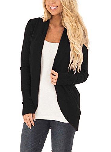 Cnfio Damen Strickjacke Casual Cardigan Langarm stricken pullover outwear mit Taschen Mantel Jacke Winter schwarz M