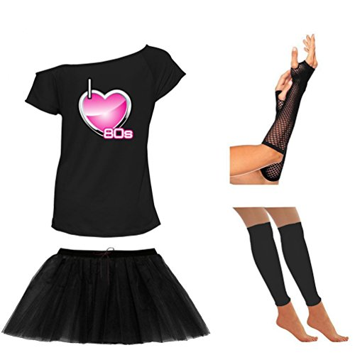 YTHH Fashion Womens I Love 80s Neon Skirt Off Shoulder T Shirt Leg Warmers Gloves Set (Black 6225 Off Shoulder T Shirt80s Tutu Skirt Gloves Leg Warmer Set# Small (UK-8)#Womens)