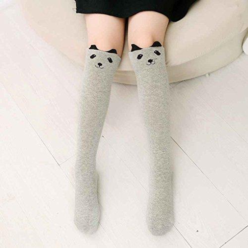 Busirde Cartoon Kleinkind-Baby-Kind-Mädchen-Kind-Kniestrümpfe Mid-Wadenlänge Strumpf Socken Legging dünne Strumpfhose-Hosen grau