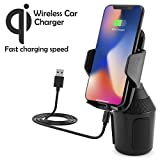Universal Wireless Auto KFZ-Dosenhalter mit Qi-Ladefunktion für Apple iPhone X, 8, 8 Plus/Samsung Galaxy S9, Note 8, S8, S8+, S7, S7 Edge/LG G6, G4/Microsoft/Motorola usw.