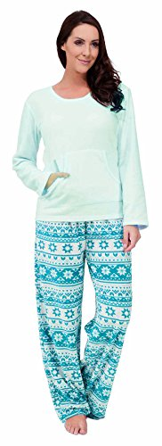 Pour Femme Doux Micro polaire Manches Longues Jacquard Modèle Set Pyjama ~ EU 42 - 18 Bleu Clair