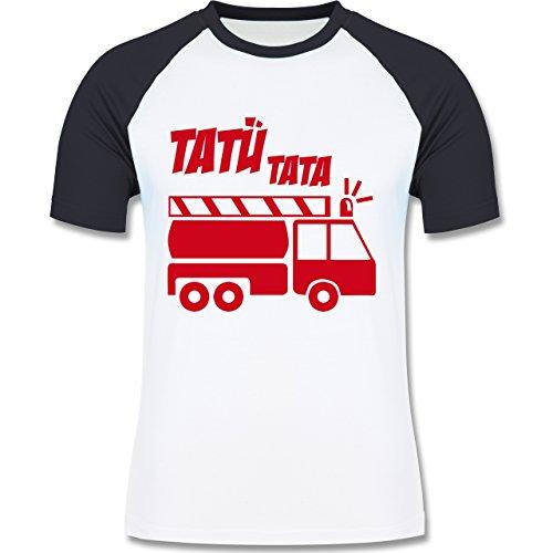 Feuerwehr - Tatü Tata - zweifarbiges Baseballshirt für Männer Weiß/Navy Blau