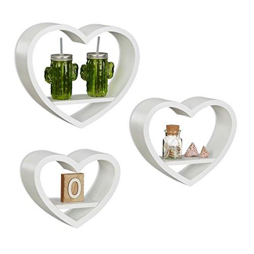 Relaxdays 10021817_49 set 3 mensole da parete a forma di cuore, romantiche, capacità di carico 6 kg, pensili, bianco