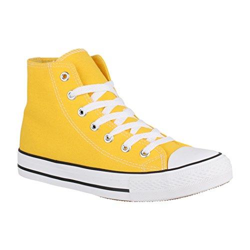   Bequeme Sportschuhe für Damen und Herren   Low top Turnschuh Textil Schuhe Chucks-Hoch-1 XG201 Yellow-40 ()