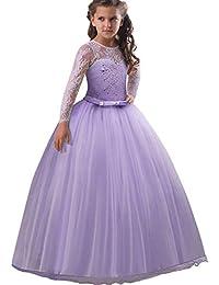 POLP Niña Vestidos de Princesa Fiesta de la Boda de Las Niñas Bordado Baile de graduación Vestido Princesa Disfraz Vestido de Novia Vestir Vestido Encaje Mujer niñas Tutu Falda de Red 4-9 años