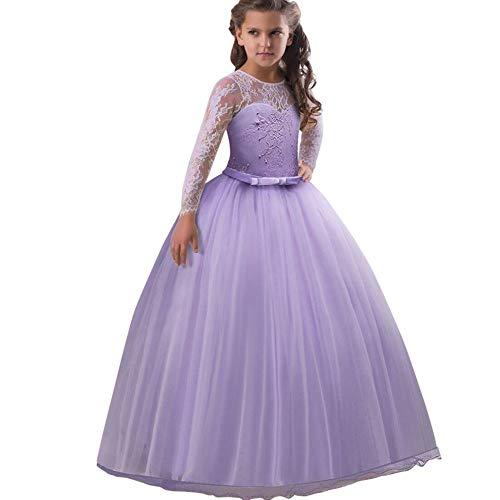 Mädchen Festzug Stickerei Prom Kleider Prinzessin Hochzeit Kleidung Blumenmädchen Hochzeit Festzug Bekleidung mit Schleife Abendkleider Partykleid