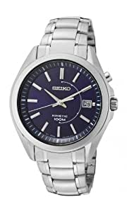 Seiko Men's Automatic Watch with Blue Dial Analogue Display and Silver Stainless Steel Bracelet SKA521P1