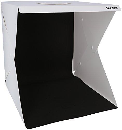 Rollei Lichtzelt 40 x 40 cm - Faltbares Lichtzelt für Produktfotografie, inkl. 2 lichtstarke LED Lichtleisten und 2 wechselbare Hintergründe (schwarz/weiß)