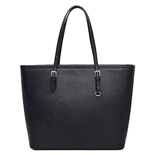VECHOO Damen Handtasche Elegant Reissverschluss Schultertasche Premium Kunstleder Shopper tasche groß (Klassik Schwarz)