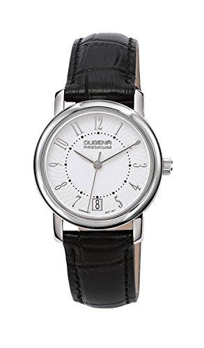 Dugena Premium Rondo Petit Arabica 7000134 - Reloj analógico de cuarzo para mujer, correa de cuero color negro