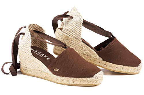 VISCATA Ebene 2.5 Heel, Soft Ankle-Tie, Closed Toe, Classic Espadrilles Heel Made in Spain, Brown - 37 M EU - Schuhe Wedges Sandalen Frauen