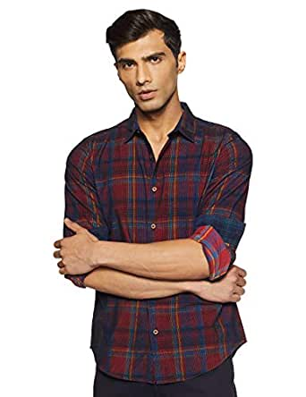 United Colors of Benetton Men's Checkered Slim fit Casual Shirt (19A5SP62U008I_903_S_Red