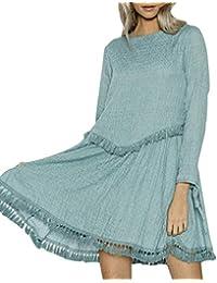 Falda de Playa Vestido de Noche Vestido de Mujer con Flecos de Manga Larga  Mini Vestido 1dc6c372282d