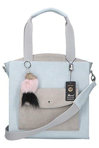 mit Anhänger, Crossbody bag für Jugend, graue Handtasche für Frauen, Ökoleder (PU Leder) leather women tote, wurde in EU produziert, Schultertasche bag (Pastellblau) (Graue Tote Bag)
