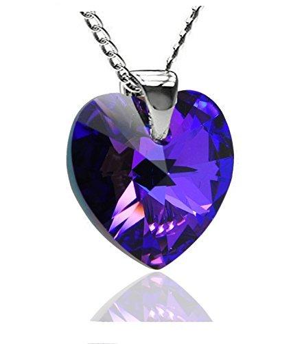 Royal Kristalle Sterling Silber Made mit Swarovski-Kristallen violett blau Kristall Herz Anhänger Halskette, 45,7cm (Jane Seymour Offenen Herzen Schmuck)