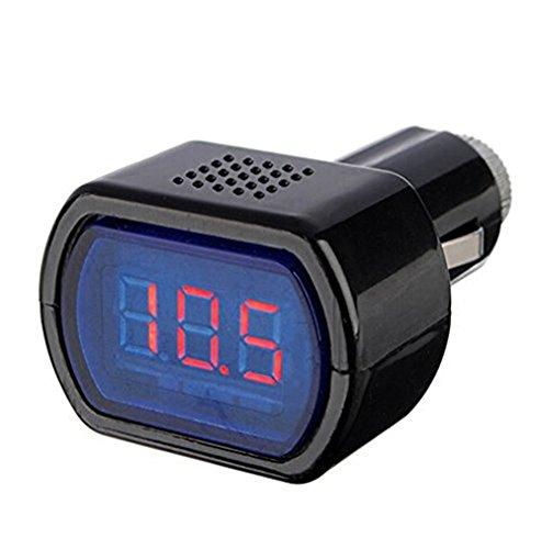 Aikesi voltmetro da auto, nero, indicatore di voltaggio con tensione da 12-24V, con indicatore, tester per la batteria dell'auto, con display rosso