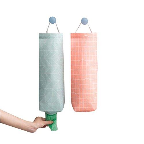 akinly bolsa de plástico bolsa de basura soporte impermeable montaje en pared dispensador de bolsa de la compra bolsa de basura organizador para oficina en casa cocina, juego de 2 blue and pink