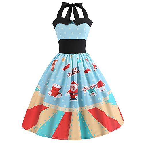 Femme Noël Vintage Élégant Mini Robe, Femmes Vintage 1950's Audrey Hepburn Pin-up Robe de Soirée Cocktail, Style Halter Années 50 à Pois Ba Zha Hei(Bleu Clair,XL)