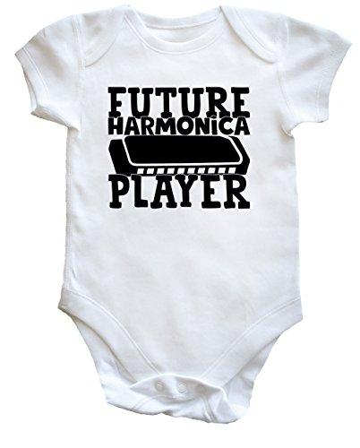 Hippowarehouse Future Harmonica Player Baby Vest Bodysuit (Short Sleeve) Boys Girls