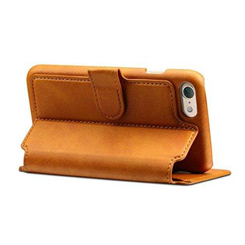 iPhone 7 & iPhone 8 Custodia, Airart Flip Custodia Case Pelle Portafoglio Progettazione [Slot Per Schede], Ultra Sottile Fit Cover con [Chiusura Magnetica] e [Stand Funzione] 4.7, Marrone Chiaro Marrone Chiaro