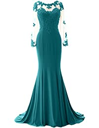MACloth Women Mermaid Long Sleeve Lace Evening Formal Gown Wedding Party Dress (EU42, Gris)