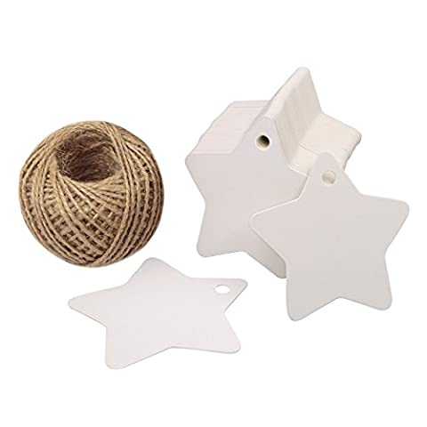 100 PCS Kraft Paper Tags Star Shape Gift Tags with 100 Feet Natural Jute Twine String Idea for Wedding Favor Tags, Party Gift Tags, Price Labels, Luggage Tags (White) - Mason Spago