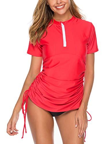 Caracilia Damen Kurzarm Rash Guard Badeanzug UV Sonnenschutz Zip Front Surf Swim Shirts ZWY04-F55-XL