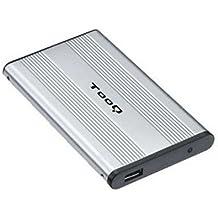 """TooQ TQE-2501 - Carcasa para discos duros HDD de 2.5"""", (IDE, USB 2.0), aluminio, indicador LED, color plata, 80 grs."""