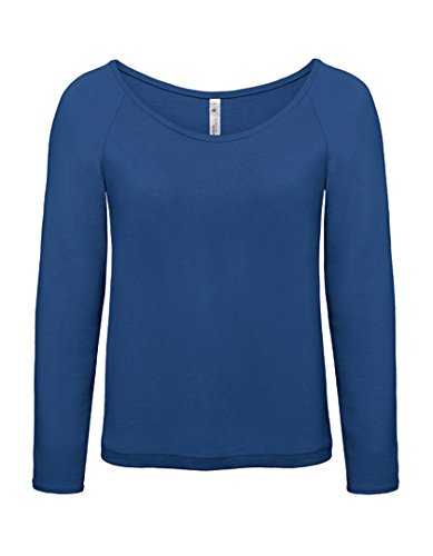 Pullover Femme col large Raglan French Terry Sweatshirt Pacific Deep Blue