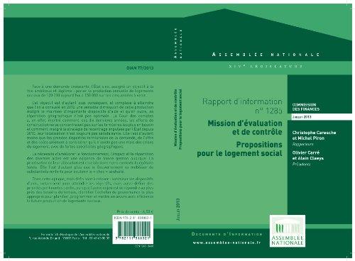 """Couverture du livre Rapport d'information de la mission d'évaluation et de contrôle """"propositions pour le logement social »"""