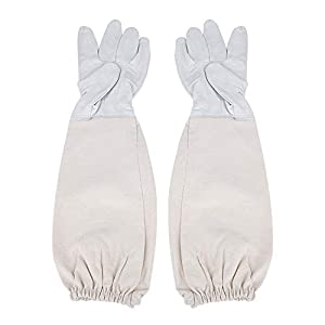 BTIHCEUOT Gants de Protection pour Apiculture à Manches Longues avec Peau de chèvre ventilée Anti-Morsure pour Outils pour Abeilles (1 Paire)