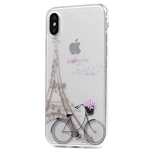 MAXFE.CO TPU Silikon Hülle für iPhone X Handyhülle Schale Etui Protective Case Cover Rück mit Blumen Skin TPU Kantenschutz Gemalt Design Schutzhülle Fahrrad