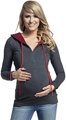 Happy Mama. Para mujer sudadera capucha de lactancia detalles de contraste. 124p