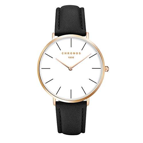 Mode Klassisch Unisex Damenuhren Herrenuhren PU Lederband Anolog Armbanduhren für Männer Frauen, Schwarz-Rose Gold (Gold Runde Schaltfläche)