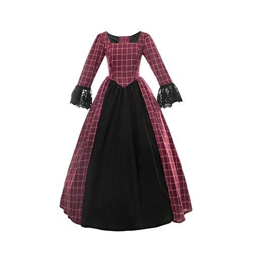 Nuoqi Damen American Pioneer Colonial Prairie Kleid Civil War Viktorianisches Schottenkaro Kleid Mittelalter Kostüm - Rot - US 16W