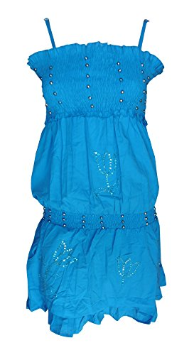 Sunrose Bead moti worked blue partywear backless tube dress tunic