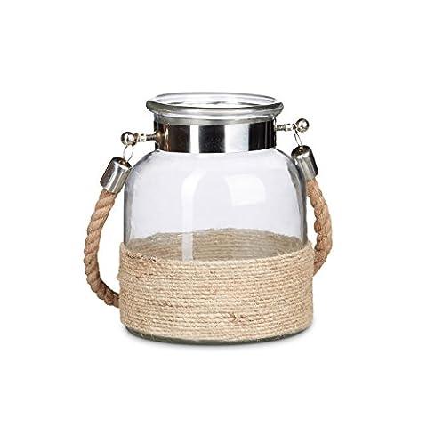 Relaxdays Windlicht mit Kordel LUMI, 3 Liter, klein, Echt-Glas, mit Seilgriff aus Jute, Teelichthalter mit Metallrand, Glaslaterne, natur