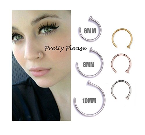 925 Sterling Silver Open Nose Ring Hoop 0 6mm Piercing 6mm Gold