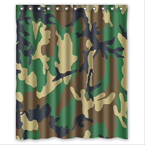 Renfengchui Wasserdichtes Badezimmer Stoff Polyester Dusche Vorhang Wald Camo Armee Camouflage Muster Uniform Style Print Design 183 X 244 cm - Orange Camo Stoff