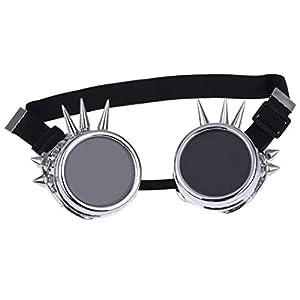 Retro Steampunk Gafas de seguridad gafas de proteccion Gafas remache Steampunk Diseno Gotico Cosplay Lentes Gafas Plata