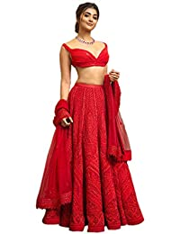 Ethnic Empire Women's Georgette Semi-stitched Lehenga Choli (Ethnic_127202_Red_Free Size)