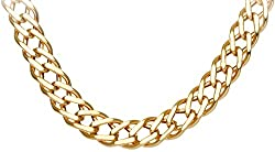 Citerna 9ct Yellow Gold Chunky Double Curb Necklace Chain - 7mm width,46 cm