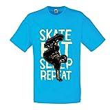 Männer T-Shirt Eat-Sleep-Skate-Repeat Fro Skateboard Liebhaber, Skateboarder Geschenke, Skateboarden Kleidung (Medium Blau Mehrfarben)