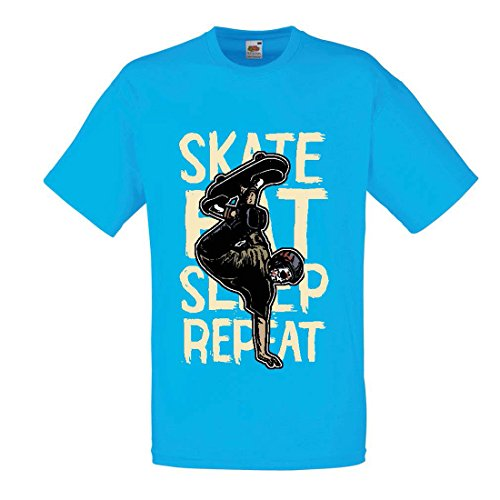 Männer T-Shirt Eat-Sleep-Skate-Repeat Fro Skateboard Liebhaber, Skateboarder Geschenke, Skateboarden Kleidung (Small Blau Mehrfarben) (T-shirt Medizinische Humor)